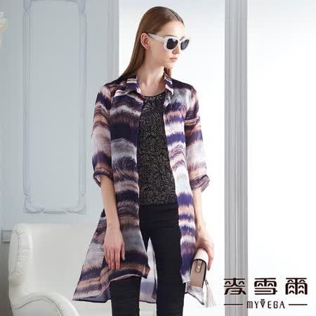【麥雪爾】純絲彩繪五分袖長版外套