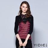 【YIDIE衣蝶】玫瑰寶石鏤空亮片蕾絲領刷毛上衣