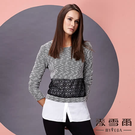 【麥雪爾】幾何圖型雪紡下擺長版上衣