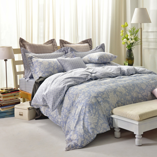 IN HOUSE~Begonia blue ~300織精梳棉~四件式薄被床包組 雙人