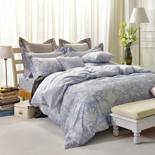IN HOUSE~Begonia^(blue^)~300織精梳棉~四件式薄被床包組^(特大