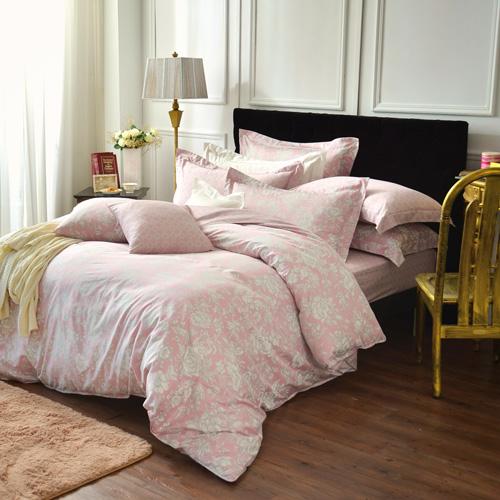 IN HOUSE~Begonia^(pink^)~300織精梳棉~四件式薄被床包組^(雙人