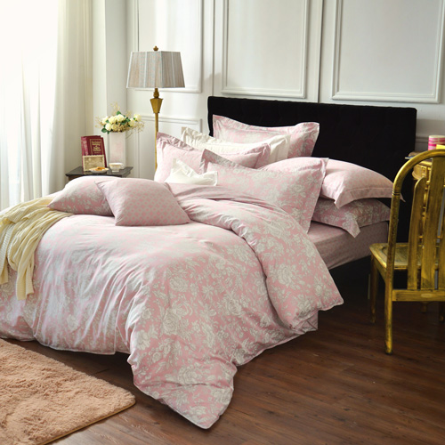 IN HOUSE~Begonia^(pink^)~300織精梳棉~四件式薄被床包組^(加大
