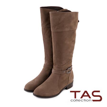 TAS U型馬蹄造型扣帶斜口低跟長靴-可可棕