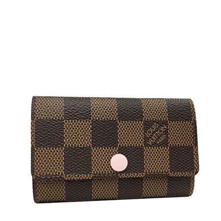 Louis Vuitton LV N41624 Damier 棋盤格紋六扣鑰匙包.粉_預購