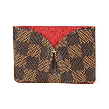 Louis Vuitton LV N61219 CAISSA 棋盤格紋信用卡名片夾.紅_預購