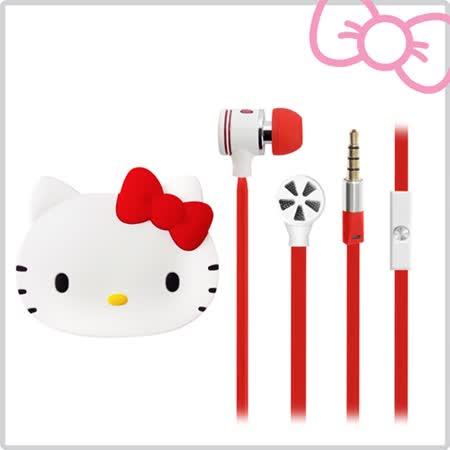 Hello Kitty經典耳道式線控耳機 附造型收納盒-甜蜜紅(KT-EMA11R)
