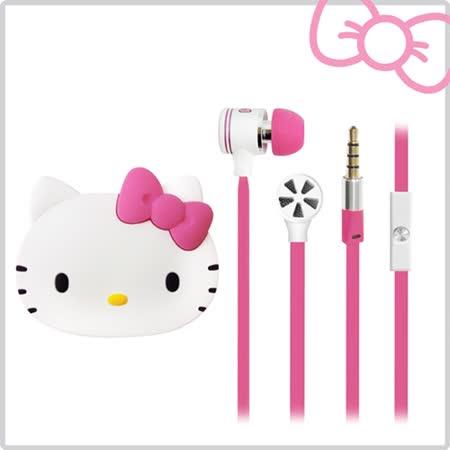 Hello Kitty經典耳道式線控耳機 附造型收納盒-夢幻桃 (KT-EMA11P)