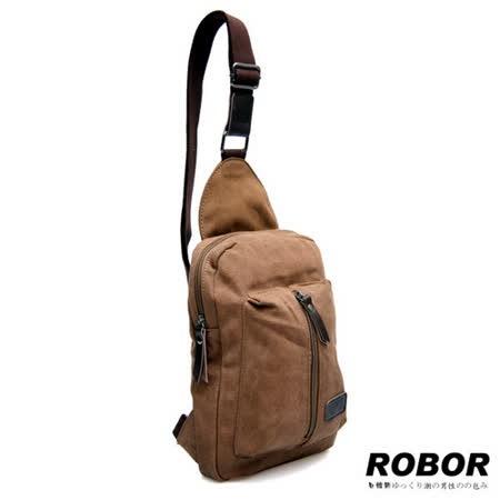 韓系型男 ROBOR貝隆風格帆布包單肩包(棕色)