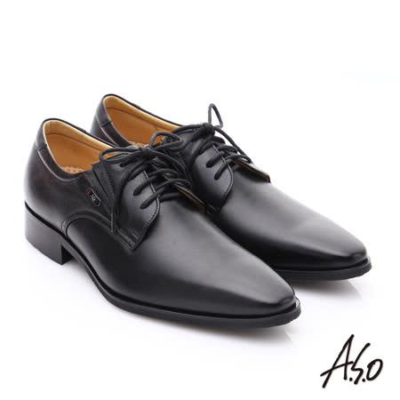 【A.S.O】超輕雙核心 時尚尖楦真皮奈米皮鞋(黑)