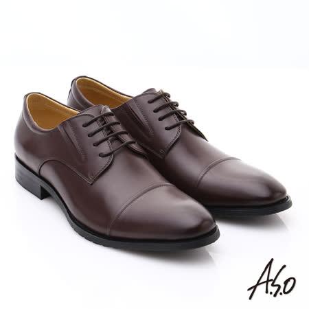 【A.S.O】職人通勤 時尚真皮綁帶皮鞋 (咖啡)