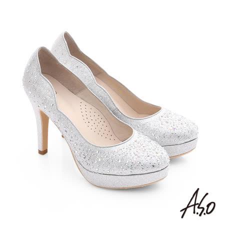 A.S.O 璀璨注目 金蔥布貼鑽高跟鞋(銀)