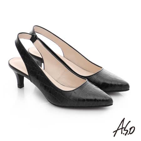 A.S.O 壓紋牛皮前包後空靜音高跟鞋(黑)