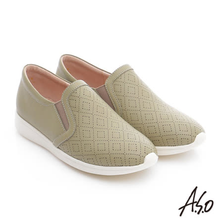 A.S.O 樂福氣墊 全真皮奈米菱格壓紋休閒鞋(淺綠)