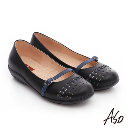 A.S.O 舒適樂活 全真皮沖孔低跟奈米休閒鞋(黑)