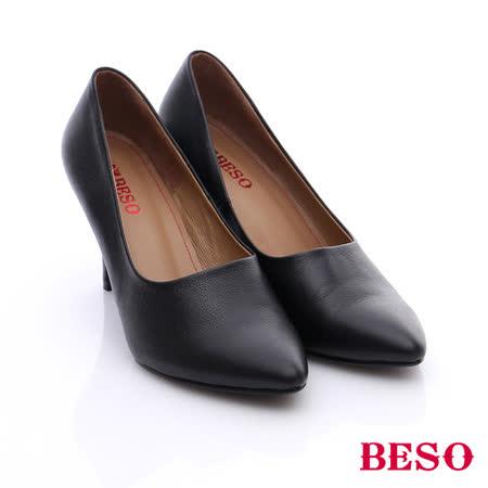 BESO 簡約知性 全羊皮素面高跟鞋(黑)