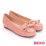 BESO 簡約知性 全真皮蝴蝶結內增高莫卡辛鞋(粉紅)