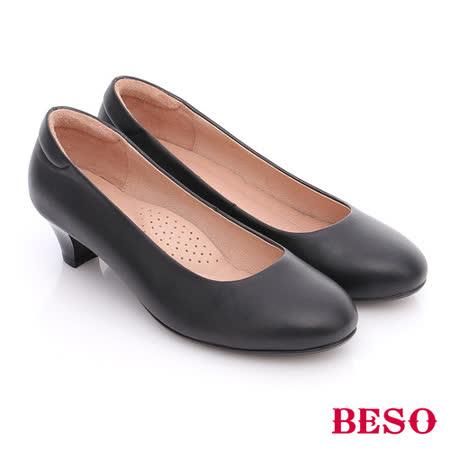 BESO 簡約知性 羊皮素面通勤中跟鞋(黑)