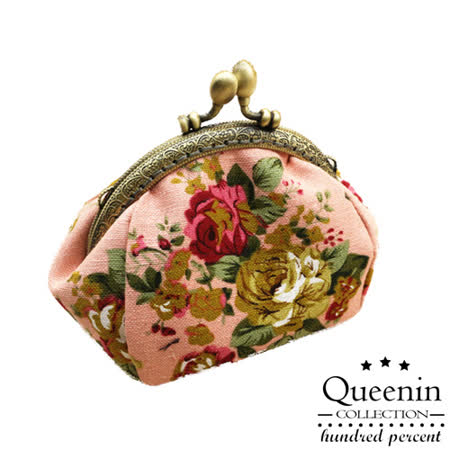 DF Queenin皮夾 - 日系復古宮廷花卉款零錢收納包-共2色