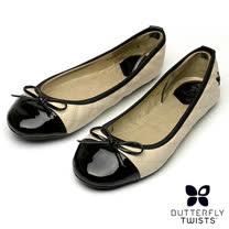 BUTTERFLY TWISTS-OLIVIA可折疊扭轉芭蕾舞鞋-奶油白/黑