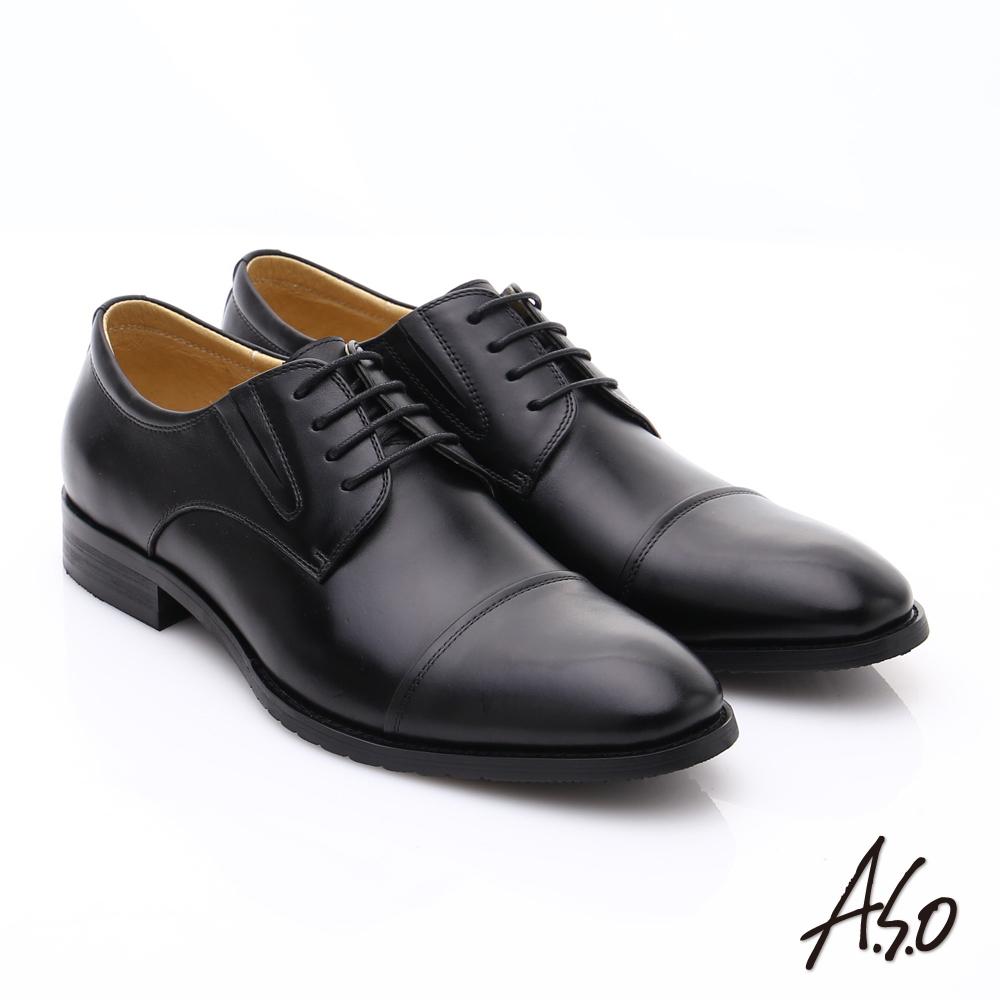 【A.S.O】職人通勤 時尚真皮綁帶皮鞋 (黑)