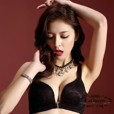 LaQueen 立體織花蕾絲前扣無鋼圈蠶絲內衣組A-E(黑)