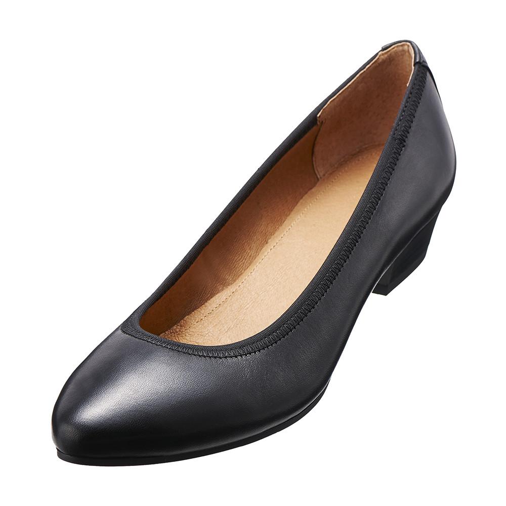 【Kimo德國品牌手工氣墊鞋】氣質真皮淑女鞋‧牛皮‧橡膠底(個性黑D5415WF003013)