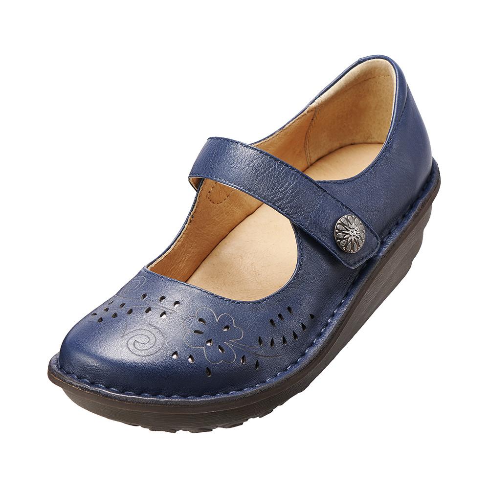 ~Kimo德國品牌 氣墊鞋~減壓典雅厚底手縫鞋牛皮‧手縫鞋‧舒適寬楦^( 藍K15WF01