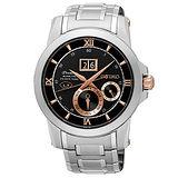 【SEIKO 精工】Kinetic 世紀帝國萬年曆大視窗不鏽鋼腕錶(41mm/7D48-0AR0D)
