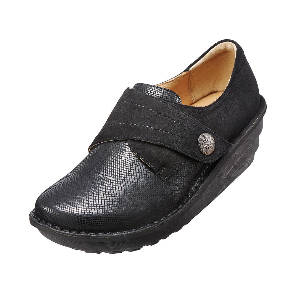 ~Kimo德國品牌 氣墊鞋~魅力蛇紋手縫厚底鞋‧牛皮.增高.舒適‧手縫^( 黑K15WF0