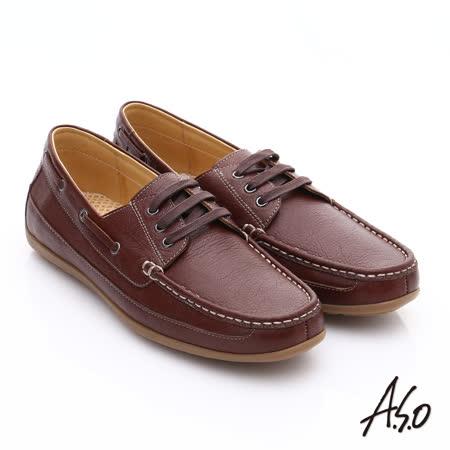 【A.S.O】輕量抗震 真皮經典綁帶奈米休閒鞋(茶)