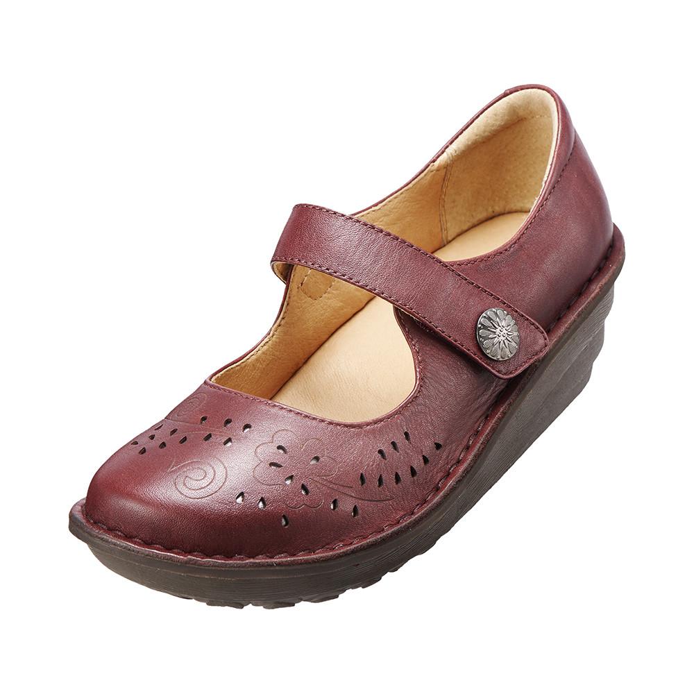 ~Kimo德國品牌 氣墊鞋~減壓典雅厚底手縫鞋牛皮‧手縫鞋‧舒適寬楦^(氣質紅K15WF0