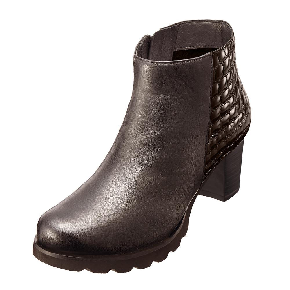 ~Kimo德國品牌 氣墊鞋~俐落真皮格紋短靴‧牛皮‧短靴‧跟鞋^(沉穩咖K15WF0580