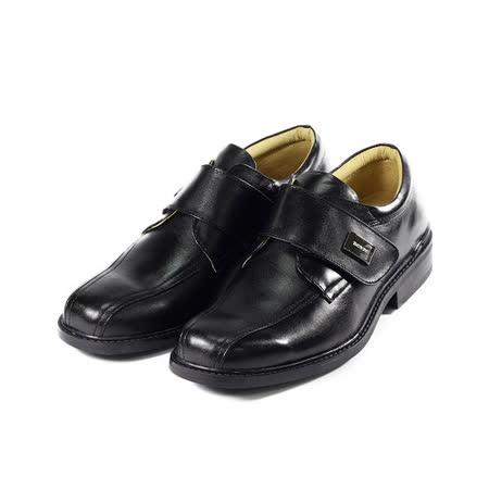 (男) BONJO 經典黏帶真皮紳仕鞋 黑 鞋全家福