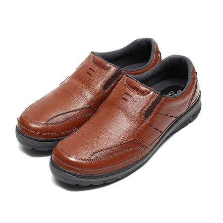 (男) BONJO 縫線套式輕量休閒鞋 咖 鞋全家福