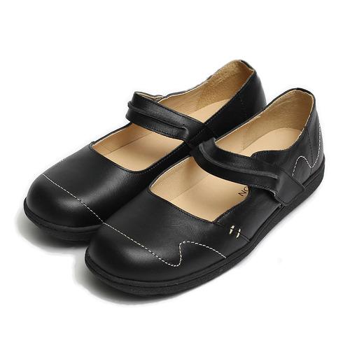 ^(女^) 亞蘭德倫 牛皮方頭娃娃鞋 黑 鞋全家福