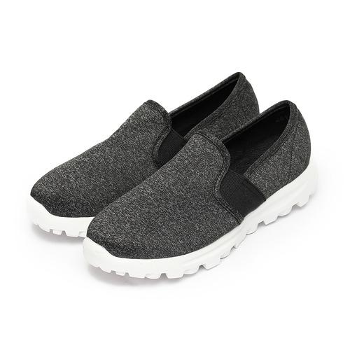 ^(女^) 韓風布面套式休閒鞋 黑 鞋全家福