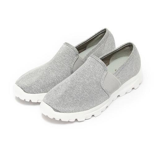^(女^) 韓風布面套式休閒鞋 灰 鞋全家福