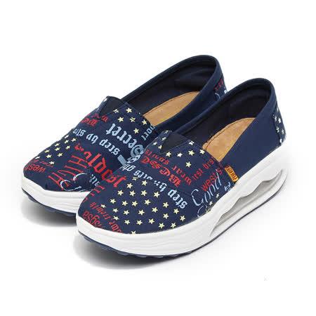 (女) FUH KEH 花布大氣墊休閒鞋 藍 鞋全家福