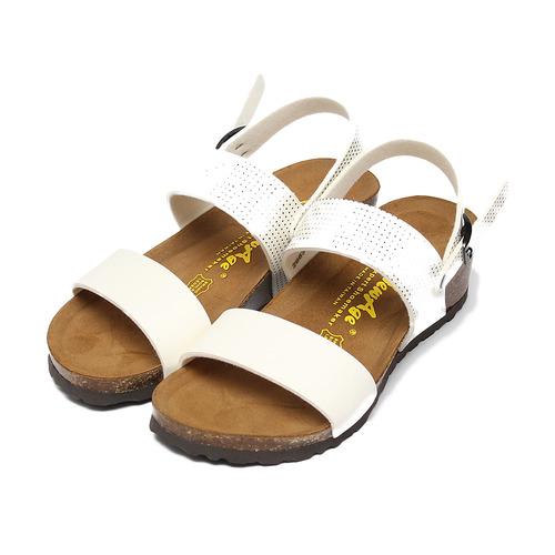 ^(女^) NEW AGE 點點腳床楔型涼鞋 白 鞋全家福