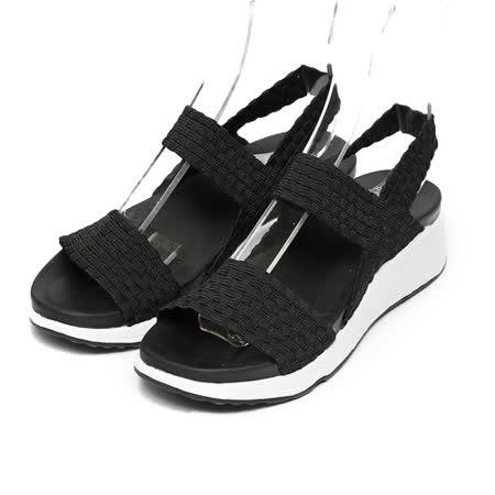 (女) 老船長 編織彈力底涼鞋 黑 鞋全家福