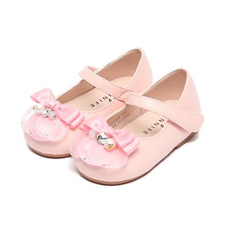 (中小童) CONNIFE 氣質珠花蝴蝶結娃娃鞋 粉 鞋全家福