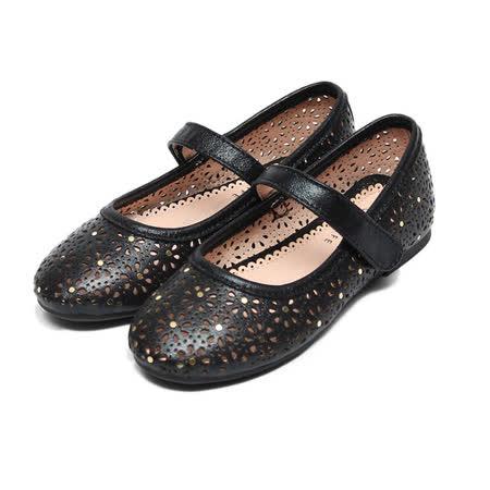 (中大童) CONNIFE 鏤空亮面柔軟娃娃鞋 黑 鞋全家福