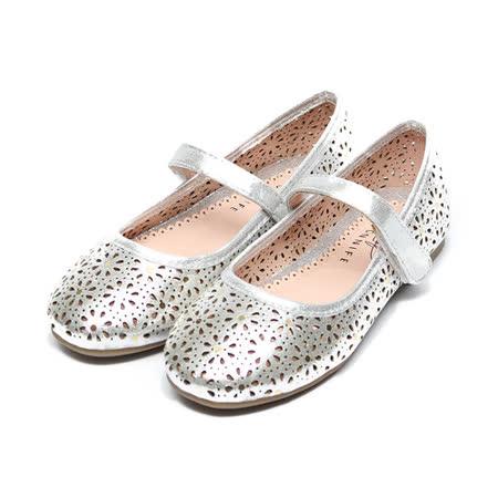 (中大童) CONNIFE 鏤空亮面柔軟娃娃鞋 銀 鞋全家福
