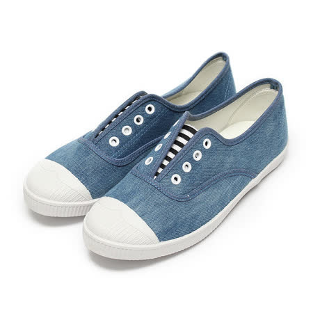 (女) GIOVANNI VALENTINO 條紋鬆緊套式休閒鞋 牛仔藍 鞋全家福
