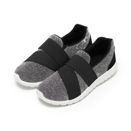 (女) C&K 金蔥布面繃帶套式休閒鞋 銀 鞋全家福