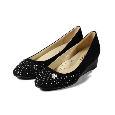 (女) LUZZI 羊皮貼鑽低楔形鞋 黑 鞋全家福