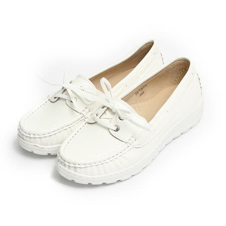(女) NEW AGE 拼接綁帶套式休閒鞋 白 鞋全家福