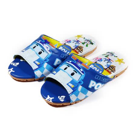 (中童) 救援小英雄 POLI室內皮拖鞋 藍 鞋全家福