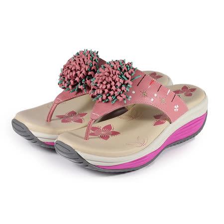 (女) 地之柏 機能夾腳拖鞋 粉紅 鞋全家福